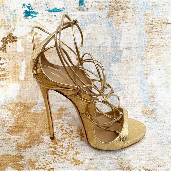 Dsquared2 Snakeskin RiRi Gold Lace up Stiletto